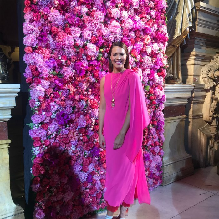 Mandy Moore, who matched the floral wall as she stepped out in a hot pink number for the Schiaparelli Haute Couture Fall Winter 2018/2019 show, which was held as part of Paris Fashion Week on Monday, July 2 in Paris.