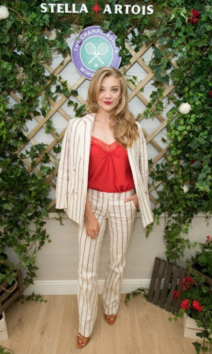 Natalie Dormer hit up the Stella Artois, the official beer of the tournament, event before taking to the stands. The <i>Game of Thrones</i> star rocked a striped trouser suit to the sporting event.