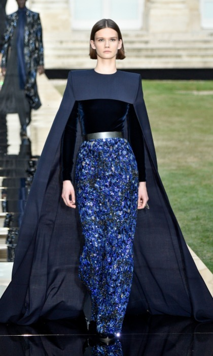 Since Meghan is a big fan of capes, this midnight blue number would suit her nicely. The velvet top and beaded skirt makes for a head turning touch.