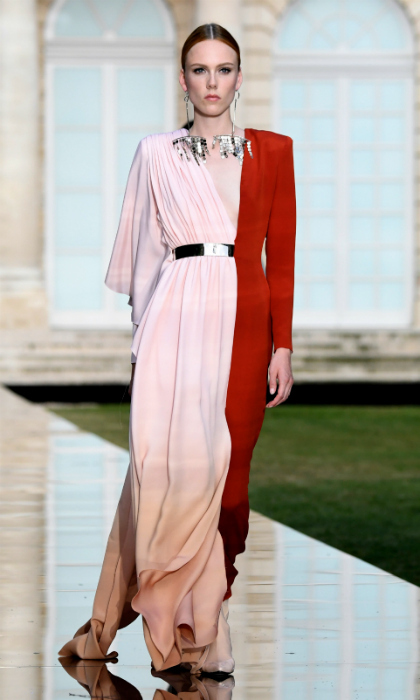 Two tone! This burnt orange and bubble gum pink gown would provide a nice contrast piece for the Duchess.