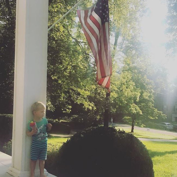 "Lady Antebellum's Charles Kelley kicked off his Fourth of July morning on his porch with his son Ward. The singer, who will be performing on NBC's <i>Today</i> on July 6, wrote: ""Having some coffee out on the porch listening to @leegreenwoodusa #godblesstheusa ! Ward is obsessed. #happy4th.""
