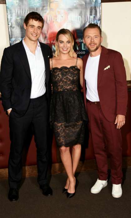 Margot Robbie looked lovely in lace as she posed with Max Irons and Simon Pegg at the UK special screening of their movie <i>Terminal</i> at Prince Charles Cinema on July 5 in London. 