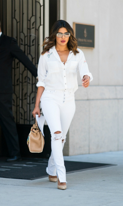 Priyanka Chopra certainly put the white in red, white and blue during the holiday week. The star was spotted stylishly stepping out in Tribeca on July 5 in New York City. 