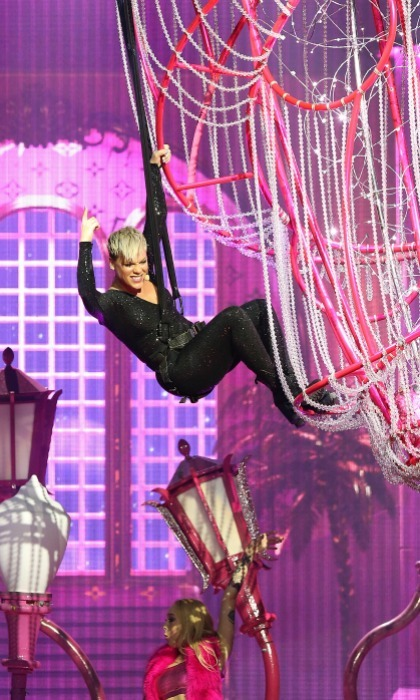 Pink was her usual acrobatic self while performing at Perth Arena on July 3 in Perth, Australia. 