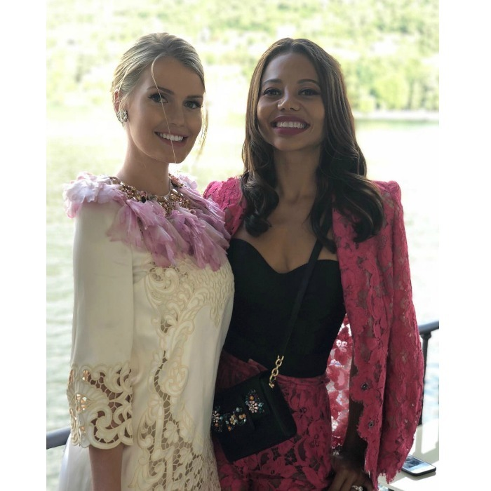 Lady Kitty Spencer and her friend Emma Thynn, Viscountess Weymouth looked stunning at the dreamy Dolce & Gabbana Loves Como event in Como, Italy. Princess Diana's niece turned heads in a unique ensemble by the designer. 