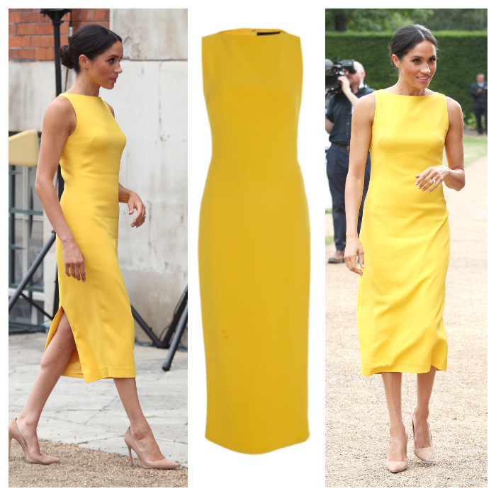 The Duchess stepped out of her comfort zone and opted for a cheery yellow Brandon Maxwell dress for her outing with Prince Harry on July 5. Meghan, who paid homage to her  roots the day after the Fourth of July, wore the American designer's $1,495 midi sheath dress. 