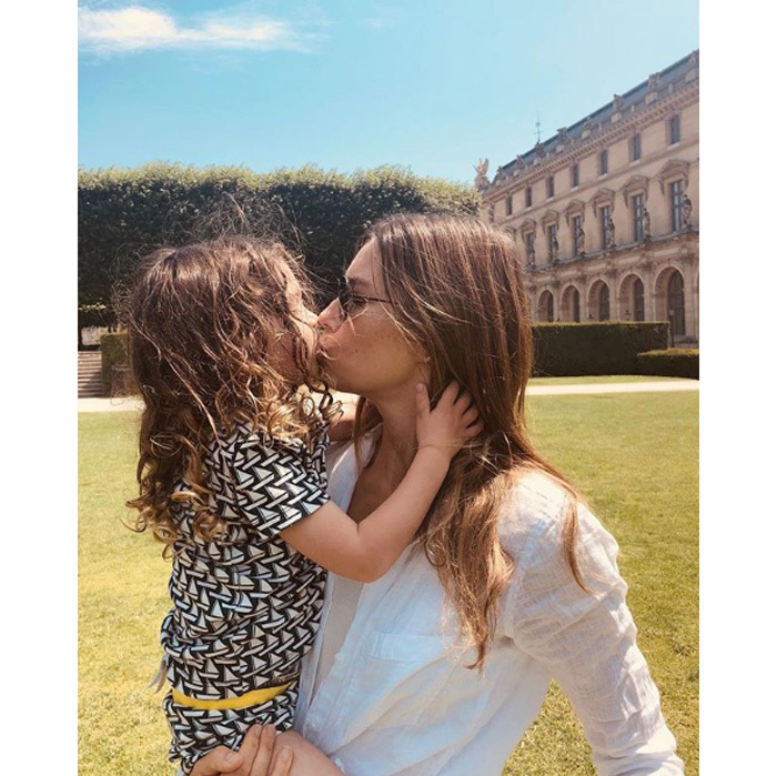 """Justin Timberlake and Jessica Biel's son Silas has a smooch from his mom during the family's time in Paris. The singer, who is in town for his <i>Man of the Woods</i> European tour, shared the adorable shot on his Instagram with the caption: """"If that pic doesn't say 'City Of Love' then I'm out..."""" Photo: Instagram/@justintimberlake"""
