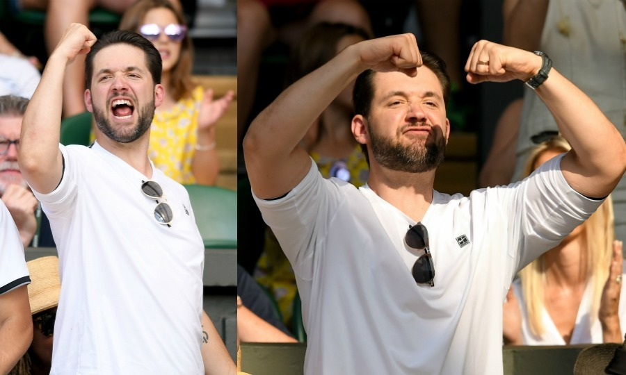 "Supportive husband Alexis Ohanian was filled with passion while rooting for his wife Serena Williams on July 6. The dad-of-one stood up and yelled for his love from the stands, clearly filled with pride. ""Momma got me hyped for the weekend,"" Alexis wrote, later sharing the photo on the right to his Instagram.