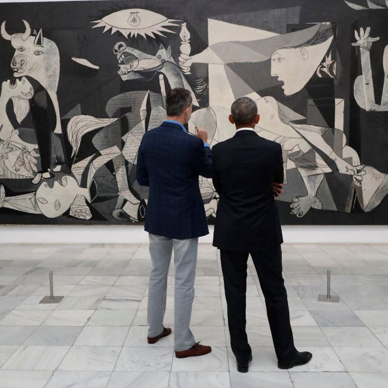 "Obama and King Felipe spent a good deal of time admiring Picasso's famous 1937 work of art ""Guernica"" (pictured here). The piece depicts the aftermath of the bombing of the town of Guernica in Spain's Basque region carried out by Italian and Nazi German planes on the petition of Spanish nationalist forces during the Civil War.
