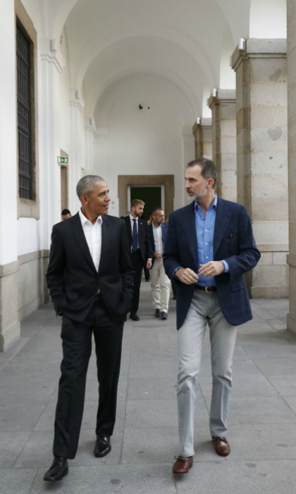 Museum buddies! Former President Barack Obama accompanied King Felipe VI of Spain on a private tour of the Reina Sofia modern art museum in Madrid on July 7. There, the powerful pair admired masterpieces from the likes of Pablo Picasso and Salvador Dali.