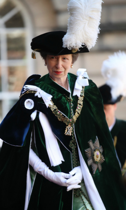 Looking equally ornate, Princess Anne also accompanied the pair for the service in Edinburgh, as two new knights were installed in St. Giles's Cathedral in Edinburgh city center. The ceremony takes place ever other year to celebrate the highest honor of chivalry in Scotland, which recognizes men and women for their public service, according to the official royal website.