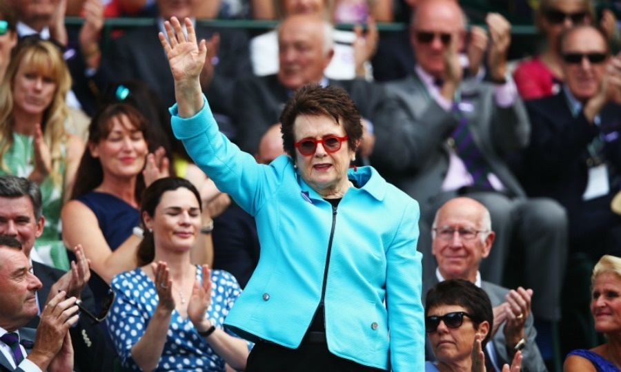 Legendary tennis player Billie Jean King hit the stands for day six of the tournament. The former world number one popped in a blue jacket, good-naturedly waving to her fans.