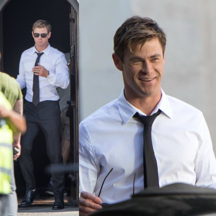 Chris Hemsworth suited up for the start of a new franchise: the reboot of the <i>Men In Black</i> series. The <i>Thor</i> star was spotted filming around London, looking rather dapper with a loose tie and sleek pair of shades.
