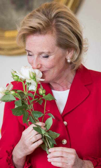 Stop and smell the roses! Princess Astrid of Belgium took in the lovely scent of a new species of roses, which was developed by Pepinieres et Roseraies Georges Delbard, specifically, with her in mind. The flower was named after the 56-year-old daughter of King Albert II and Queen Paola during a ceremony at the Belgian Royal Palace, in Brussels, on July 9.