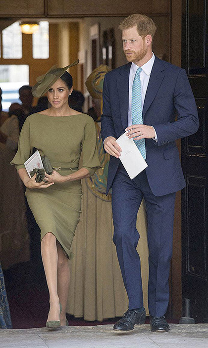 The previous day the proud aunt attended her new nephew Prince Louis' christening alongside Prince Harry championing both of US and British designers, plus suede pumps by Spaniard Manolo Blahnik. 
