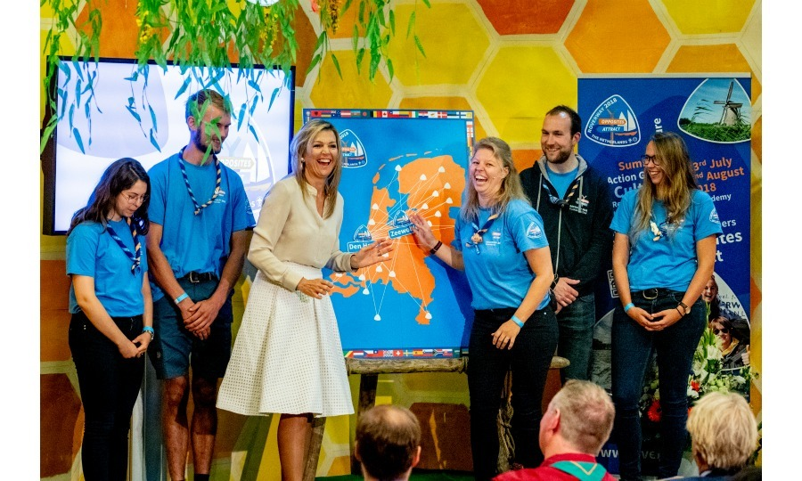 Laughing out loud! Queen Maxima of the Netherlands seemed to have a blast while visiting scouting group Hubertus Brandaan for the start of the international scouting event Roverway in Voorburg on July 10.