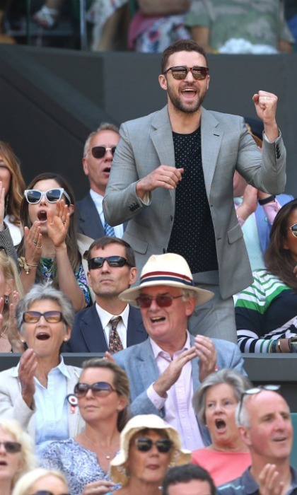 U-S-A! The stars looked stylish in their sleek shades as they passionately cheered on Serena.