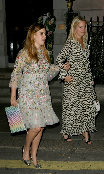 Princess Beatrice painted the town floral when she stepped out in a gorgeously-girly summery mini dress during the first week of July. The 29-year-old royal looked impeccably stylish in the stunning embellished frock with embroidered detail by luxury brand Needle & Thread as she left London's exclusive members-only club Annabel's with a friend. 