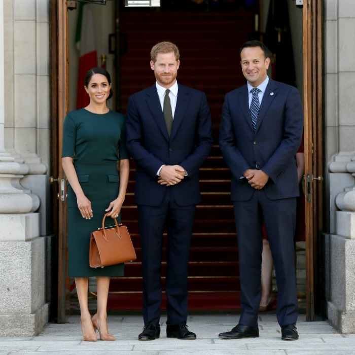 Power trio! The Duke and Duchess were greeted by Ireland's Taoiseach Leo Varadkar at the start of their two-day visit.