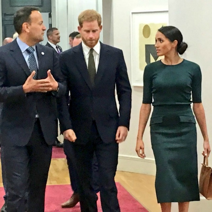 "Leo took to Twitter share this cellphone photo along with his excitement at hosting the royals for their first stop, writing: ""Pleasure to welcome the Duke and Duchess of Sussex to Government Buildings at the start of their visit to Ireland.""