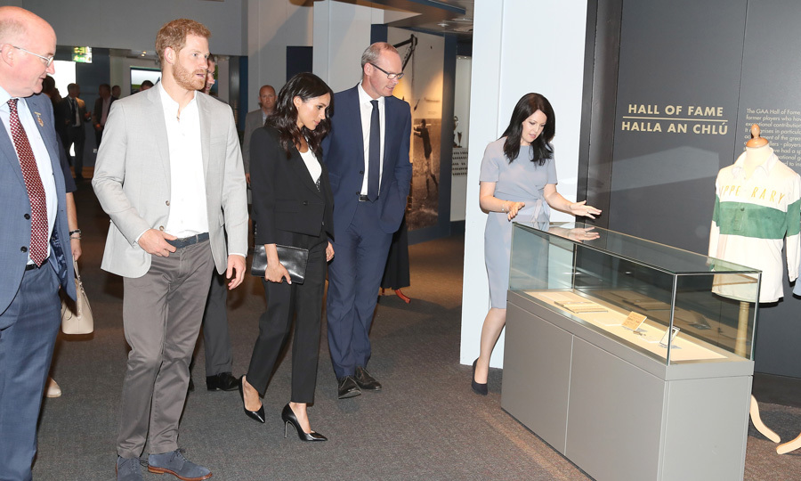 Meghan and Harry changed out of their more formal attire for a visit to the Croke Park museum, home of Ireland's largest sporting organization, the Gaelic Athletic Association.