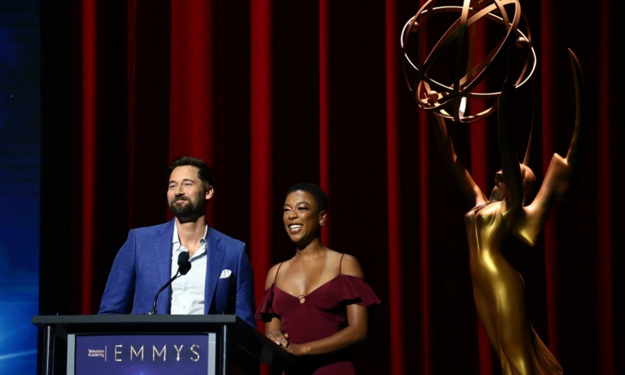 And the nominees are... Ryan Eggold and Samira Wiley announced the 70th annual Emmy Awards nominations at Saban Media Center on July 12 in North Hollywood. Samira beamed as she learned she earned a nod for her work on <i>The Handmaid's Tale</i>.