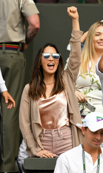 Yet again, Olivia Munn was spotted in the Wimbledon stands. The star enjoyed cheering on Serena Williams on July 12 with her mom.