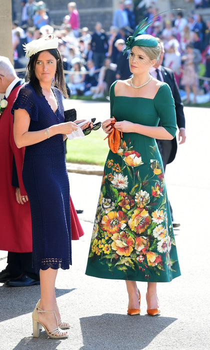 While all eyes were on Meghan Markle on her wedding day, her cousin-in-law captivated the attention of onlookers as well in this emerald green dress. The hints of orange and the floral bunch on the midi-dress were a perfect pairing.
