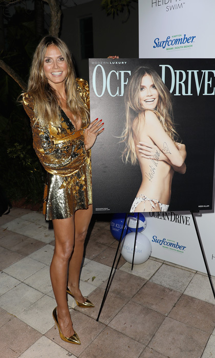 Heidi Klum was a golden goddess at her Ocean Drive cover party in Miami. The supermodel-turned-designer had a fun night at the Kimpton Surfcomber Hotel in Miami's South Beach.
