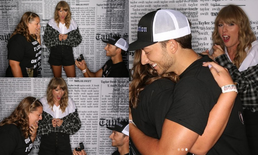 A Taylor Swift fan had a very special meet and greet on July 13. Not only did she have the pleasure of getting pictures with the award-winning singer herself, but she also got an engagement ring!  
