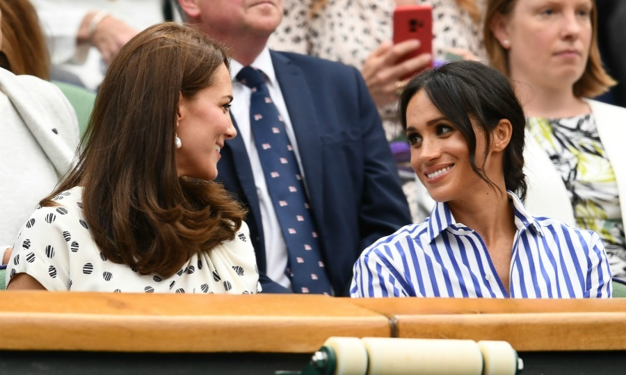 Royal sisters! The world looked on as Kate Middleton and Meghan Markle made their high-anticipated appearance together at Wimbledon on Saturday, July 14. And lucky for the world, watching the Duchesses watch the Ladies' Singles Final match proved to be very exciting. The stylish were fully invested in the game, cheering on Meghan's BFF Serena Williams.