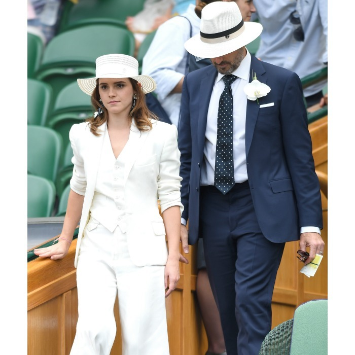Everyone fawning over Meghan and Kate, may have missed the other stars that turned out for day 12 of Wimbledon! One was Emma Watson, who hit the box with musician John Vosler. They made for a sleek pair as they took their seats. Emma, who was easy to spot in all white, actually had the same fashion mindset as the Duchess of Sussex!