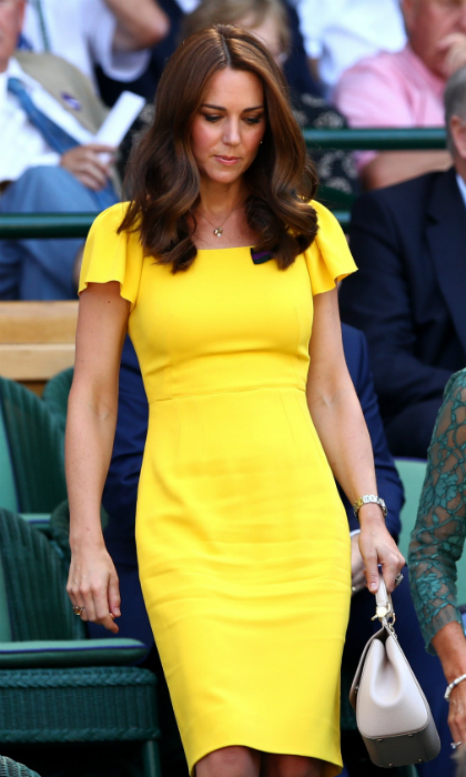 Kate is also a style icon. The 36-year-old turned heads while making her second Wimbledon appearance of the weekend. She rocked a bright yellow Dolce & Gabbana dress with simple accessories, and looked as lovely as ever with natural makeup look and her trademark Chelsea blow-dry hairstyle.