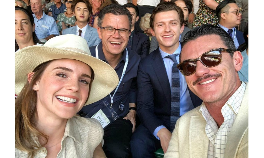 """Belle, Gaston and SpiderMan walk into the men's tennis finals match......"" Luke Evans wrote along with a star-studded snap of him, his <i>Beauty and the Beast</i> comrade Emma Watson, Tom Holland and a friend on July 15. 