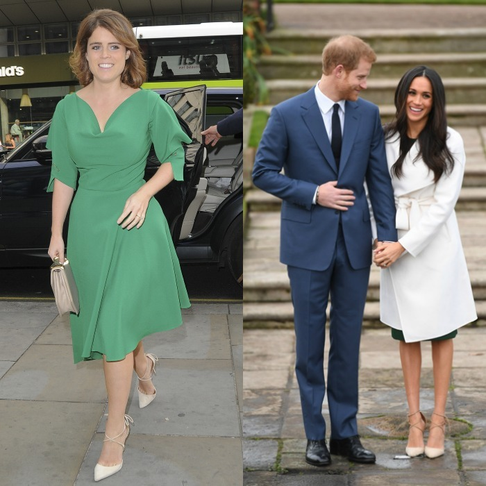 Despite her striking emerald dress, it was Princess Eugenie's less colorful shoes that caught the eyes of onlookers. The royal bride-to-be seems to have taken a fashion cue from Meghan Markle while attending an event to mark the late Nelson Mandela's 100th birthday in London. She opted for the same beige Aquazzura's Matilde crisscross suede 105mm pumps that Meghan wore for her engagement photos with Prince Harry in the Sunken Gardens of Kensington Palace.