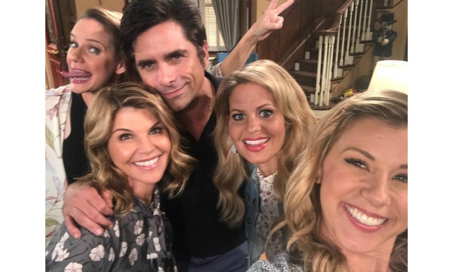 "But first, let's take a selfie! Lori Loughlin shared a fun on-set birthday photo of her with her <i>Fuller House</i> co-stars Andrea Barber, John Stamos, Candice Cameron and Jodie Sweetin on July 28. She wrote: ""So much love for this group!!! ❤️❤️❤️❤️ #fullerhouse""