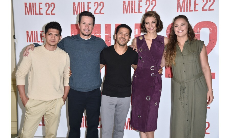 Iko Uwais, Mark Wahlberg, Carlo Alban, Lauren Cohan and Rhonda Rousey attend a photo call for STX Films' <i>Mile 22</i> at the Four Seasons Hotel Los Angeles in Beverly Hills on July 28.