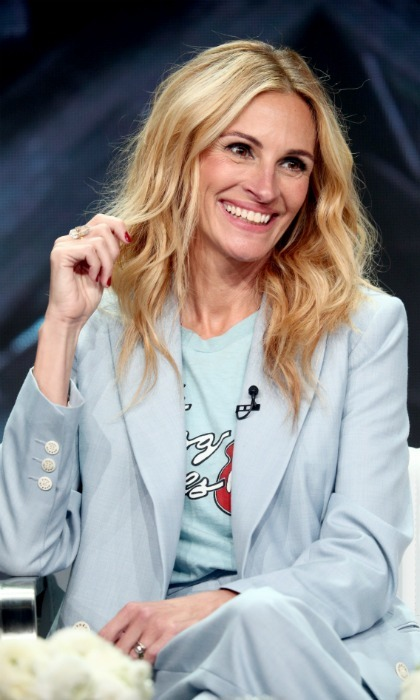 Julia Roberts flashed her famous smile during the 2018 Summer TCA Press Tour for her new show <i>Homecoming</i> on July 28 at the Beverly Hilton Hotel.