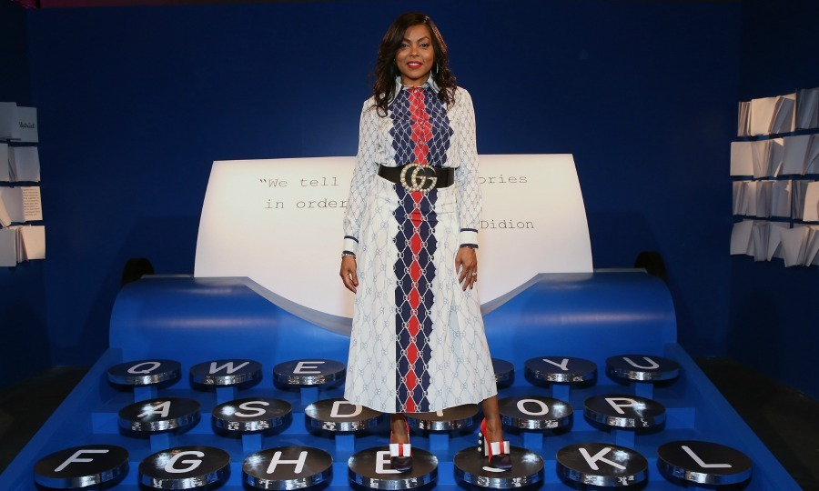 "Type it out! Taraji P. Henson perfectly matched the interior while exploring ""Refinery29's 29Rooms: Turn it Into Art,"" on July 25 in Chicago, Illinois. 