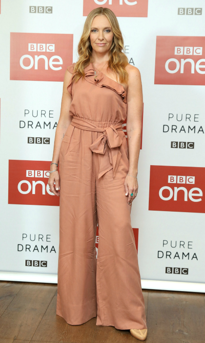 Pretty in peach! Toni Collette rocked a stunning summer romper for the photocall of BBC One's <i>Wanderlust</i> at the Covent Garden Hotel on July 30 in London.