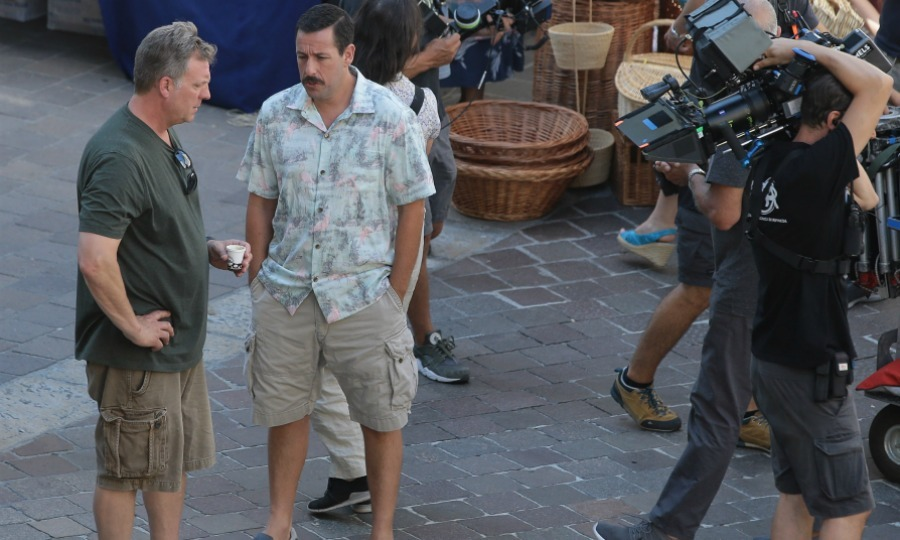 The A-lister was spotted filming the action-comedy with her longtime friend and co-star Adam Sandler in Como, Italy. 
