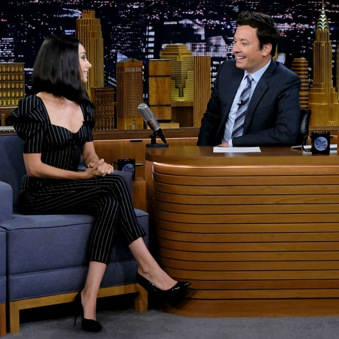 Mila Kunis chatted it up and played some games with Jimmy Fallon on <i>The Tonight Show</i> at Rockefeller Center on July 30 in NYC. 