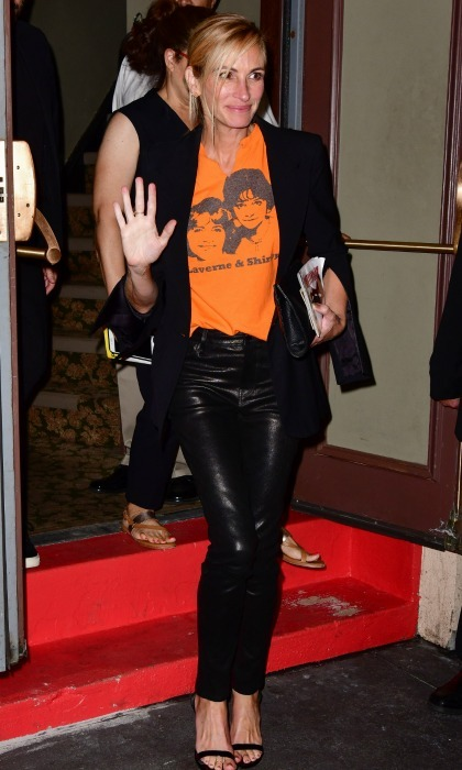 Julia styled herself with intention for the special event, rocking a <i>Laverne & Shirley</i> tee - a clear nod to the 1976 sitcom Garry created. She waved to fans upon leaving Broadway's Nederlander Theatre.