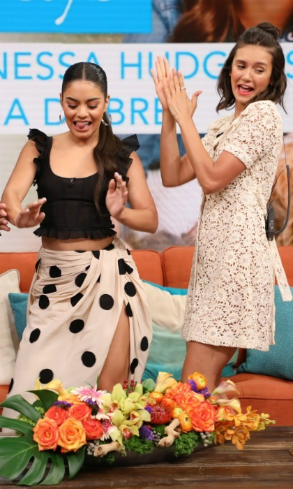 Dance break! Vanessa Hudgens and Nina Dobrev had a blast on set of <i>Despierta America</i> at Univision Studios while promoting their film <i>Dog Days</i> on August 2 in Miami, Florida.