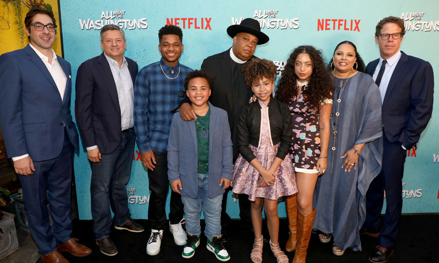 Meet the Washingtons. Rev Run and his wife Justine Simmons posed with their Netflix <i>All About the Washingtons</i> onscreen family Nathan Anderson, Maceo Smedley, Leah Rose Randall, Kiana Lede as well as  executive producer Jeremy Bronson, Netflix chief content officer Ted Sarandos and executive producer Andrew Reich at the L.A. screening at Madera Kitchen & Bar in Hollywood, California.