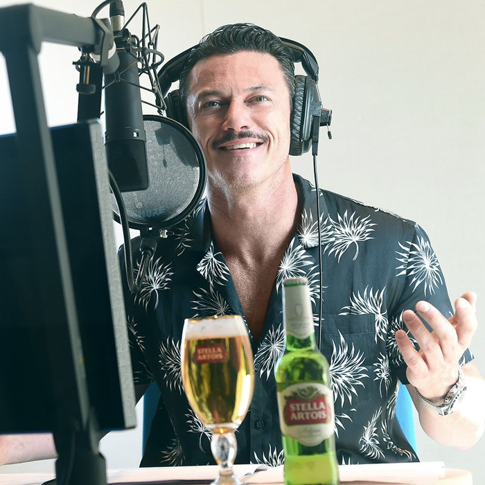 Luke Evans stayed hydrated with a Stella Artois while recording STELLASPACE, a sensory guide to mastering the art of beer sipping, in London.