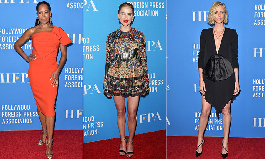 Every year, a star-studded group descends on The Beverly Hilton in Beverly Hills for the Hollywood Foreign Press Association's annual grant banquet. This year, Hollywood veterans like Charlize Theron, Amber Heard and Regina King joined their glamorous pals on the red carpet to show off some of their best looks and give back to the cause.