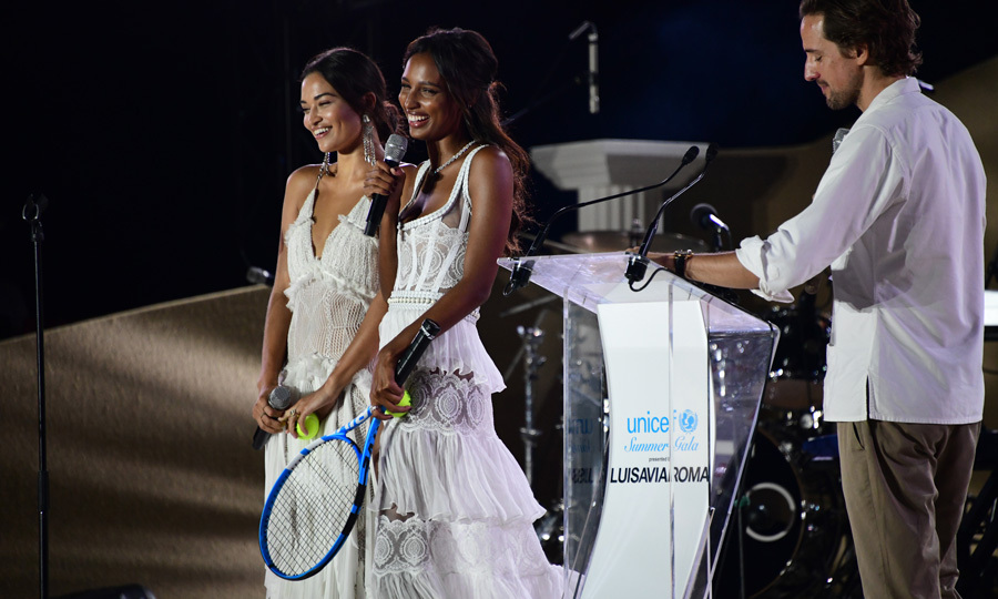 Shanina Shaik and Jasmine Tookes also looked angelic while on stage at the Unicef Summer Gala presented by Luisaviaroma in Sardinia.