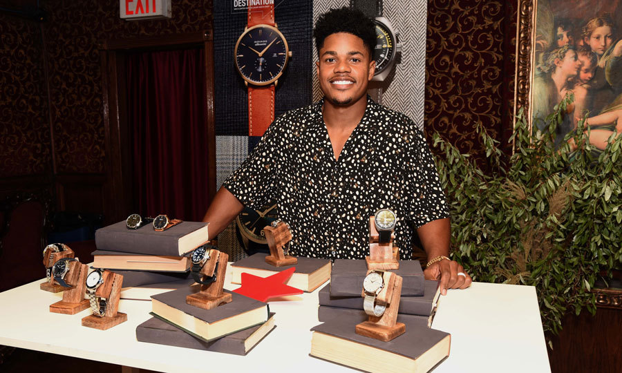 Chanel Iman's husband and NY Giants player Sterling Shepard took a break from dad duty to check out the limited-release watches for Macy's Watch Drop at Back Room in New York City.