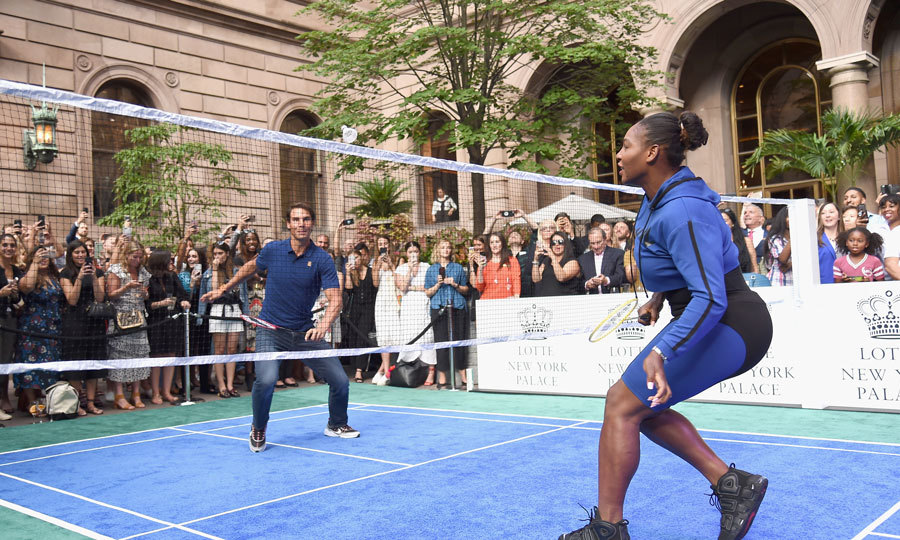 Serena Williams and Rafael Nadal had a friendly badminton competition at the 2018 Lotte New York Palace Invitational. The new mom couldn't help but joke after beating the Spanish superstar. 